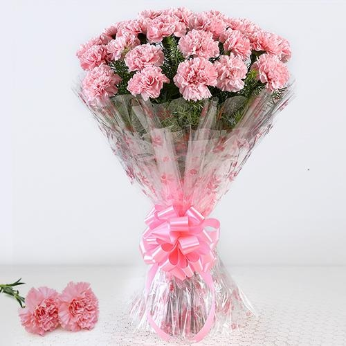 Outstanding 12 Pink Carnations Bouquet with  Happiness