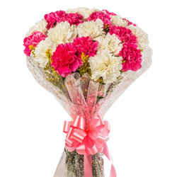 Gift Online Assemble of White N Pink Carnations