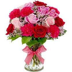 Online Deliver Mixed Flowers in a Glass Vase