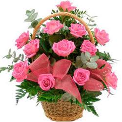 Gift Pink Roses Basket Online