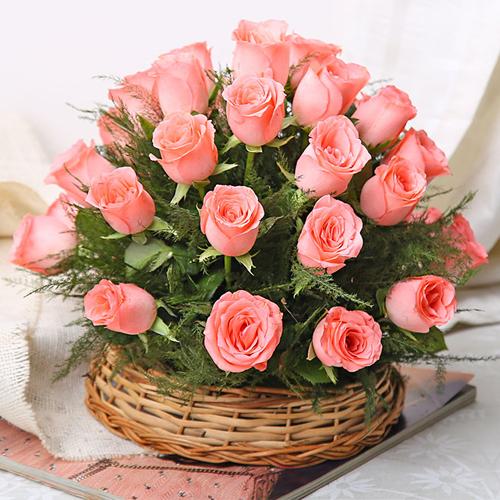 Deliver Online Pink Roses Basket