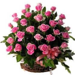 Send Online Pink Roses Basket