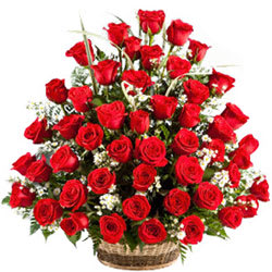 Online Deliver Red Roses Basket