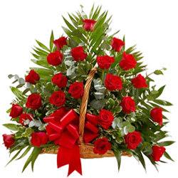 Buy Online Red Roses Basket