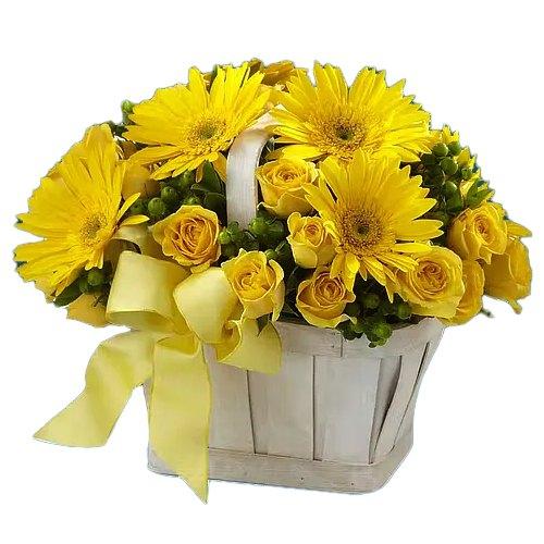 Order Online Yellow Roses N Gerberas Basket
