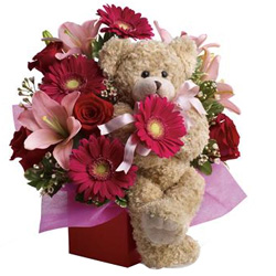 Assorted Flowers with Cute Teddy