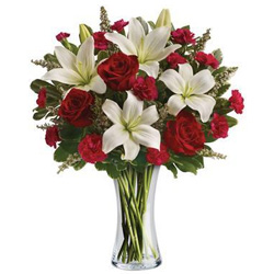 Order Red Roses N White Lilies Online