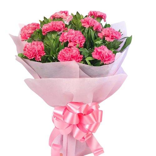Deliver Online Pink Carnations Bouquet