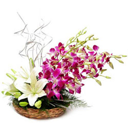 Gift Online Lilies N Orchids Basket