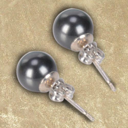 Dashing Genuine Pearl Tops Earrings Set in Grey