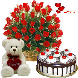 <u><font color=#008000> MidNight Delivery : </FONT></u>:25 Red Roses with 1 Lbs. Black Forest Cake and a Teddey Bear