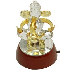 Lucky Crystal Ganesha Gift with Designer Lights