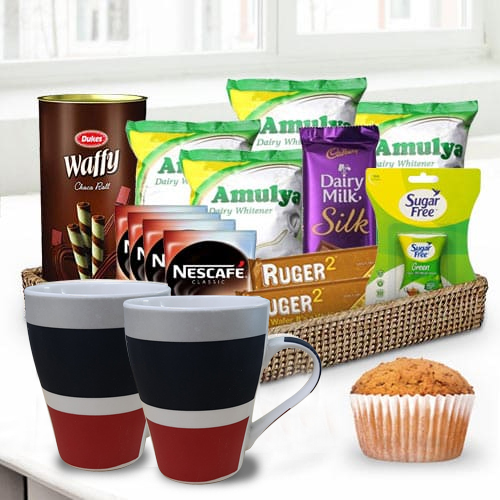 Elegant Basket filled with Coffee and Chocolate Treat<br>