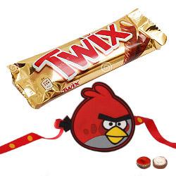 Ravishing Angry Bird Kid Rakhi And Twix Chocolate