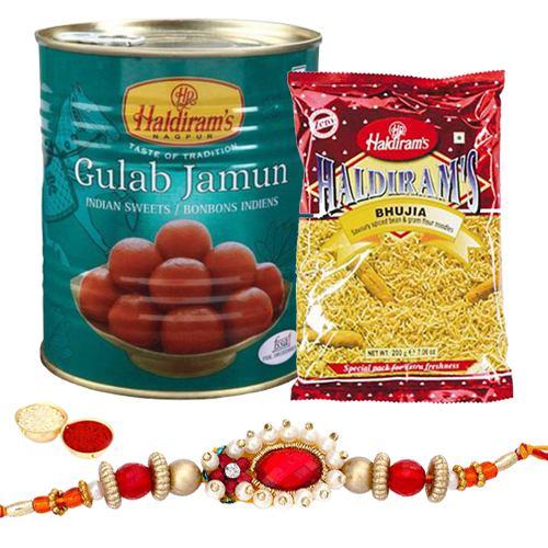 Rakhi with Gulab Jamun and Bhujia