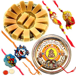 Charming Gift of Mysore Pak, 1 Bhaiya Bhabhi Rakhi, 2 Kids Rakhi and 1 Rakhi Thali