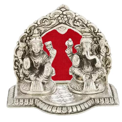 Exclusive Silver colored Auspicious Laxmi Ganesh in a Artistic Mandap and Diya