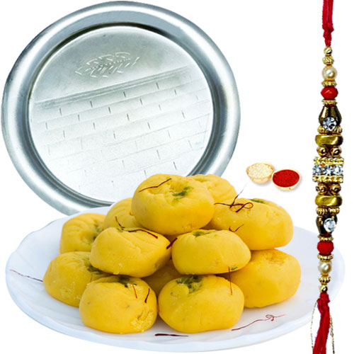 Lovely Gift of Heavenly Kesar Pedas from <font color=#FF0000>Haldiram</font>s and Enchanting Pooja Thali