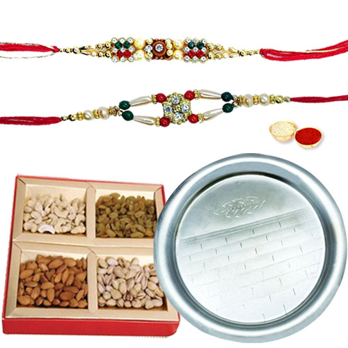 Classy Gift of Scintillating Pooja Thali and Appetizing Dry Fruits