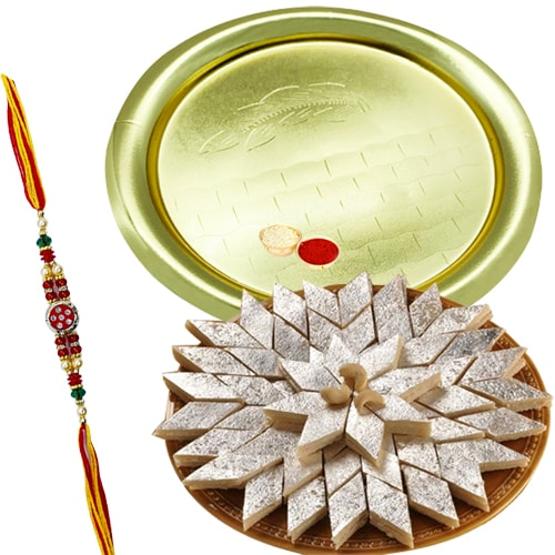 Kaju Katli and Silver Plated Puja Thali along Rakhi, Roli, Tilak and Chawal