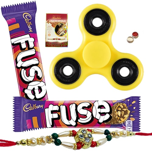 Majestic Cosset Assortment of Fidget Hand Spinner, Cadbury Chocolate and Designer Rakhi