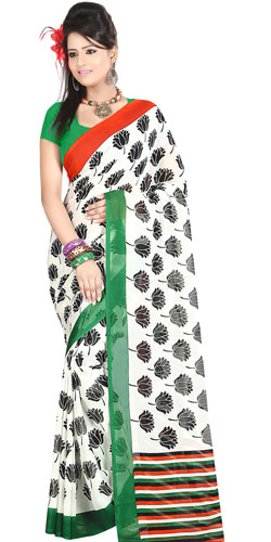 Classy White in Colour Dani Georgette Printed Saree with Floral Design