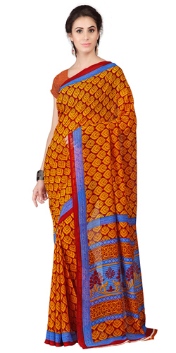 Designer Orange Weightless Georgette Floral Printed Saree