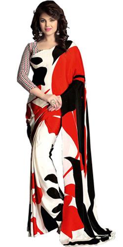 Exotic Designer Italian Crepe Saree