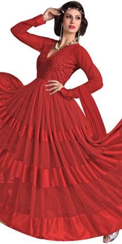 Lovely Net N Brasso Printed Red Designer Salwar