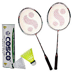 Happy Moments with Cosco Aero-737 Shuttle Cock (Set of 6 Shuttles),Silver Fusion Badminton Racket 2 pcs
