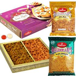 Yummy Selection of Haldiram Soan Papdi, Dal Biji and Bhujia Sev along with Raisins and Almonds