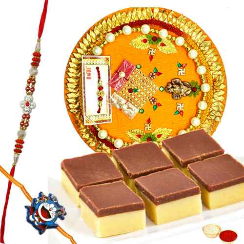 Astonishing Gift of Chocolate Barfi, Rakhi Thali with One Fancy Rakhi and One Kids Rakhi