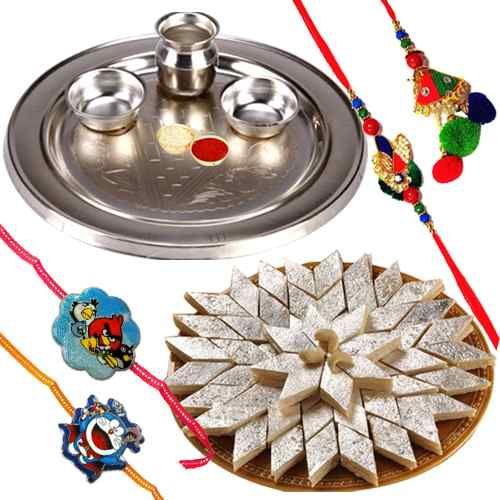 Irresistible Kaju Katli with One Bhaiya Bhabhi Rakhi Set and 2 Kids Rakhi in 1 Puja Thali