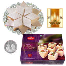 Kaju Katli, Soan Papdi and Silver Plated Coin