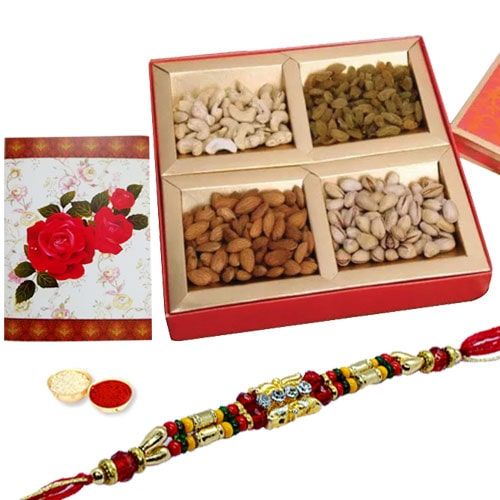 One or More Designer Ethnic Rakhi with with Dry fruits�<br /><font color=#0000FF>Free Delivery in USA</font>