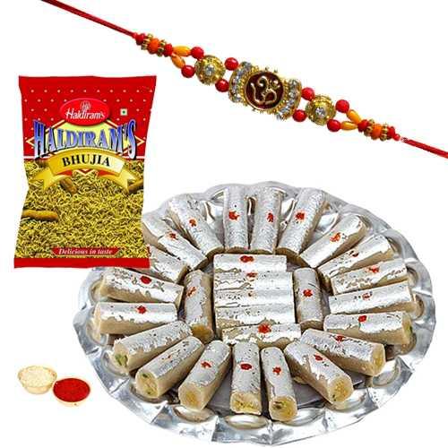 One or More Designer Ethnic Rakhi with 500 Gms. Kaju Pista Roll n 200 Gms. Haldirams Bhujia<br /><font color=#0000FF>Free Delivery in USA</font>