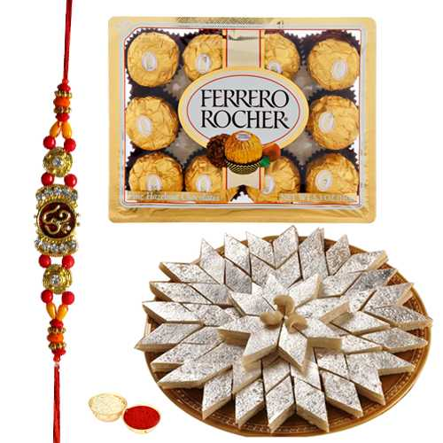 Sweets n Chocolate Hamper n Rakhis<br /><font color=#0000FF>Free Delivery in USA</font>