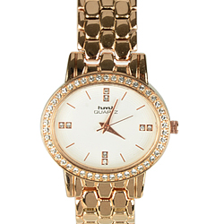 Trendy Round Dial Wrist Watch for Ladies in Golden Colour