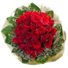 Lovely Bouquet of 30 Red Roses with Pure Passion
